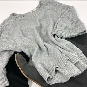 Anthropologie Gray Cable Knit Pom Sleeve Sweater M